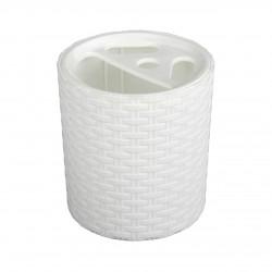 """Подставка """"Плетёнка"""" для зубных щёток (белый) М2534"""