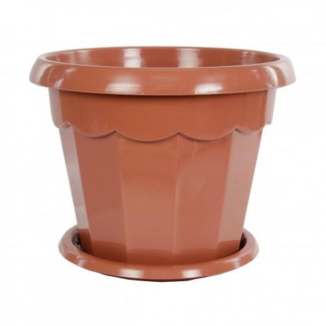 """Горшок цветочный """"Гармония"""" 2.5л. с поддоном (коричневый) М1575"""