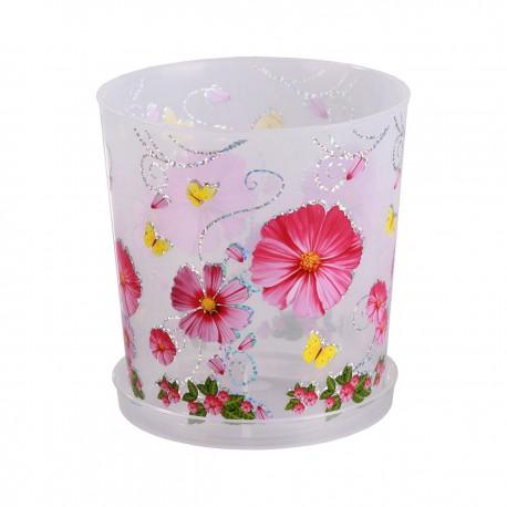 """Горшок цветочный """"Камилла"""" для орхидеи 1,8л. с поддоном (прозрачный)М2800"""