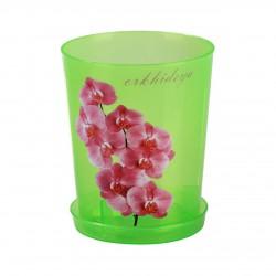 Горшок цветочный для орхидеи 1,2л. с поддоном (зел.прозрачный)М1452