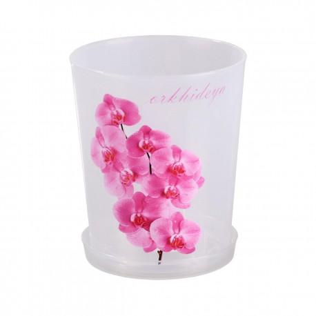 Горшок цветочный для орхидеи 1,2л. с поддоном (прозрачный)М1603