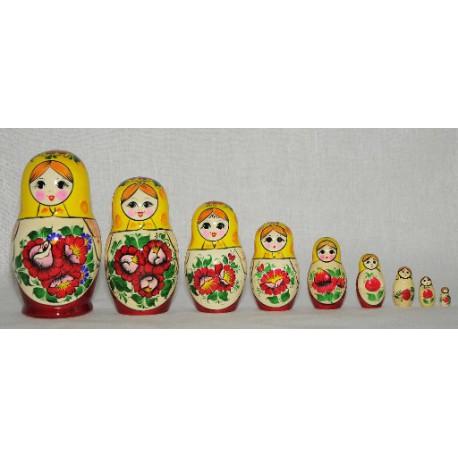 """Матрешка """"Россиянка"""" 9 пр. расписная НХП КС 53-111"""